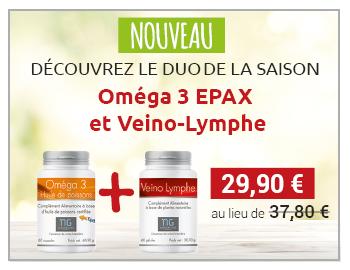 Découvrez le duo de saison, Oméga  EPAX + Veino-Lymphe à 29,90 € au lieu de 34,80 € !